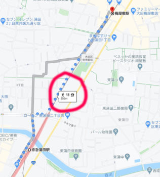 地図アプリで距離を測る