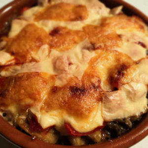 ナストマトチーズひき肉オーブン焼き