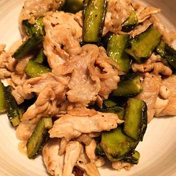 四角豆(うりずん豆)と豚肉の炒め物
